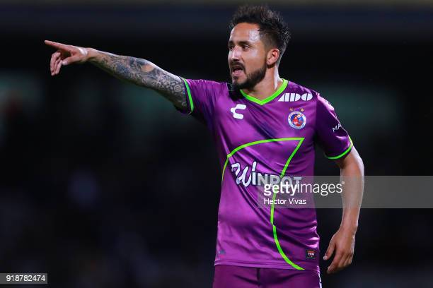 Osmar Mares of Veracruz gestures during the 7th round match between Pumas UNAM and Veracruz as part of the Torneo Clausura 2018 Liga MX at Olimpico...