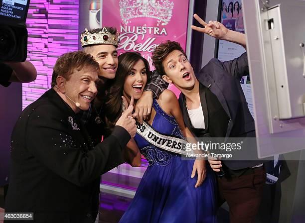 Osmel Sousa Maluma Paulina Vega and Roger Gonzalez pose backstage on the set of 'Nuestra Belleza Latina' at Univision Studios on February 8 2015 in...