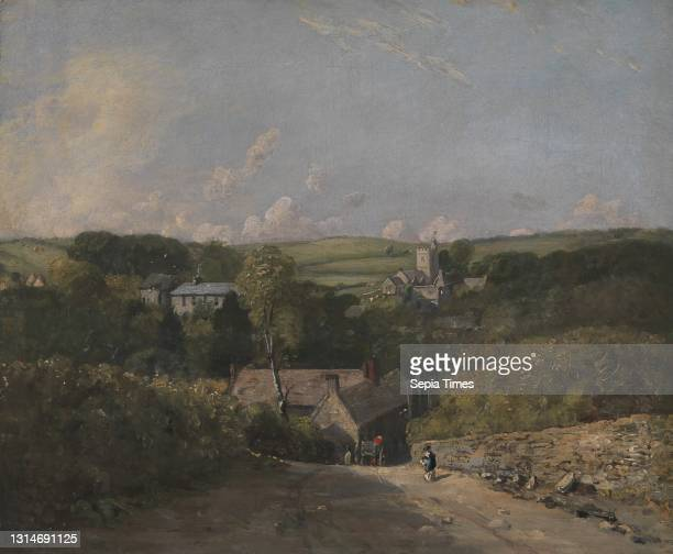Osmington Village, John Constable, 1776–1837, British, 1816 to 1817, Oil on canvas, Support : 10 1/8 x 12 inches , architecture, field, houses,...