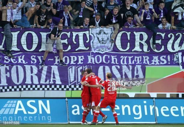 Osnabrueck fans celebrate the goal of Timo Staffeldt of Osnabrueck during the third league match between 1. FC Heidenheim and VfL Osnabrueck at...