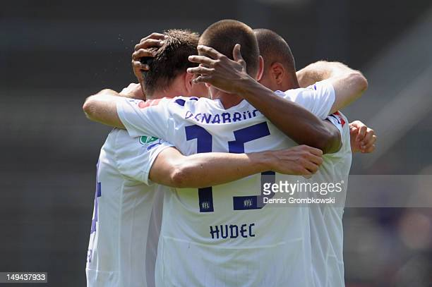 Osnabrueck players celebrate after the 3 Liga match between 1 FC Saarbruecken and VfL Osnabrueck at Ludwigspark Stadion on July 28 2012 in...