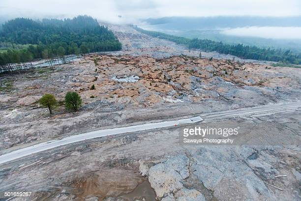 oso mud slide from above - landslide stock pictures, royalty-free photos & images