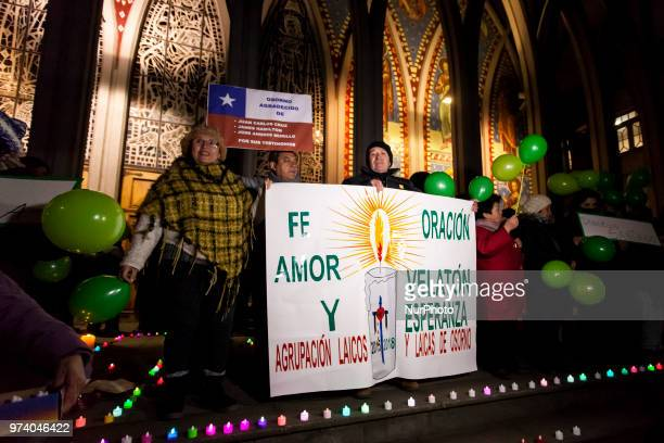 Osorno Chile 13 June 2018 The organization of laity and laity of Osorno made a candle of hope and reconciliation a few hours after the arrival of...