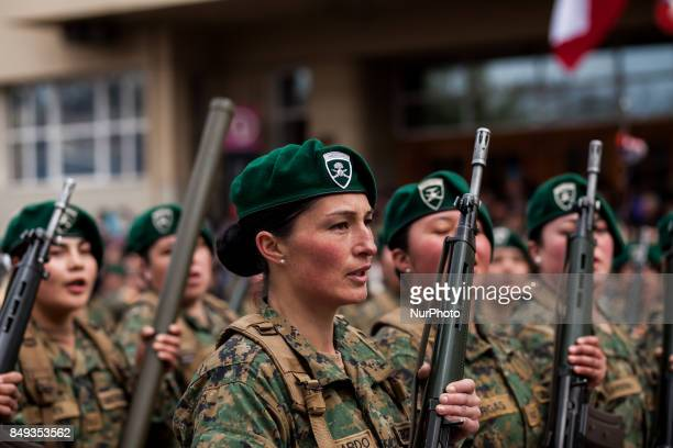 Osorno Chile 18 September 2017 Large numbers of women members of the armed forces participated in the military parade Armed forces participate in the...