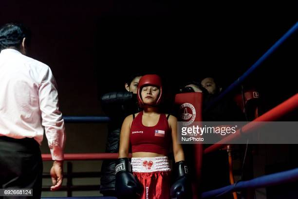 Osorno Chile 2 June 2017 Kim Sandoval an amateur boxer 15 years old 50 kilos 22 fights 20 fights won Chilean cadet champion category and will...
