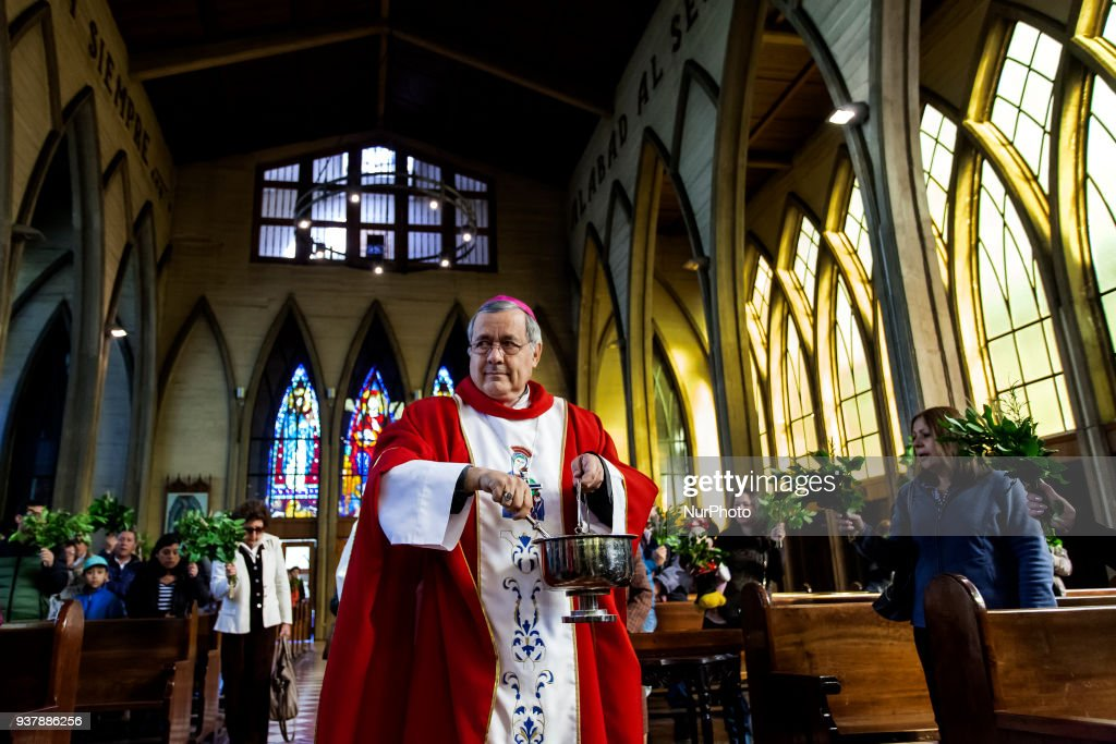 Bishop Juan Barros investigated by the Vatican celebrates Palm Sunday Mass : News Photo