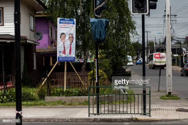 Osorno Chile 26 October 2017 Advertising of presidential candidate Miguel Piñera Presidential parliamentary and regional council candidates carry out...