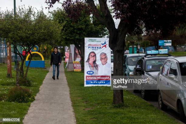 Osorno Chile 26 October 2017 Presidential parliamentary and regional council candidates carry out electoral propaganda in public spaces allowed by...
