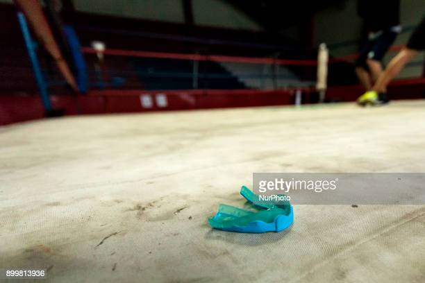 Osorno Chile 29 December 2017 Mouthguard in the ring of Club Mexico In the Club Mexico of the city of Osorno the last boxing trainings of the year...