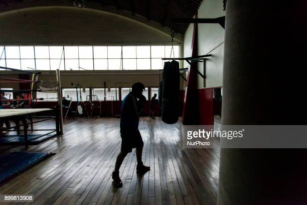 Osorno Chile 29 December 2017 Young boxers during daily training In the Club Mexico of the city of Osorno the last boxing trainings of the year are...