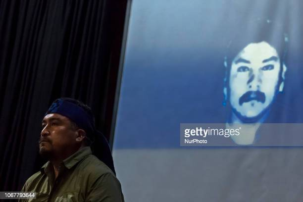 Osorno Chile 30 November 2018 Hector Lleitul with the image of the young Mapuche murdered by the police Camilo Catrillanca The leader and...