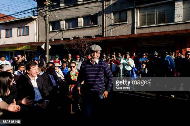 Osorno Chile 31 March 2017 In the city of Osorno a monument was inaugurated in honor of Chilean boxing idol Martín Vargas professional boxer of Mosca...