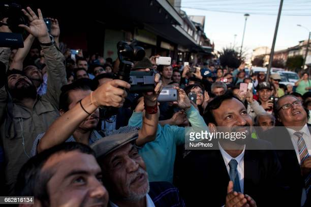 Osorno Chile 31 March 2017 Journalistic Expectation during the inauguration In the city of Osorno a monument was inaugurated in honor of Chilean...