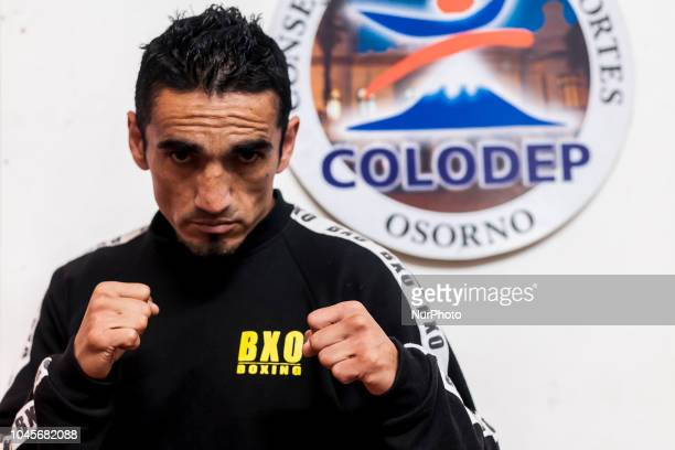 Osorno Chile 4 October 2018 The boxer Guillermo quotTerriblequot Tejeda Ceremony of weighing for the professional combat for the Gallo category...