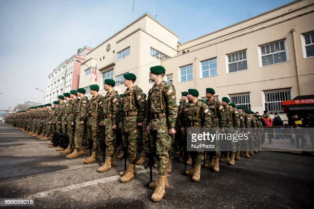 Osorno Chile 9 July 2018 Members of the Mountain Detachment of the Reinforced Army No 9 Arauco swore loyalty to the flag in the Plaza de Armas of the...