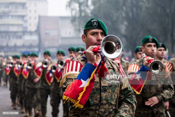 Osorno Chile 9 July 2018 Members of the Mountain Detachment of the Reinforced Army No 9 Arauco swore allegiance to the flag in the Plaza de Armas in...