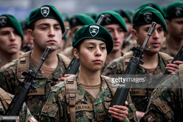 Osorno Chile 9 July 2018 Women soldiers members of the Mountain Detachment of the Reinforced Army No 9 Arauco swore allegiance to the flag in the...
