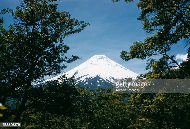 Osorno Volcano a stratovolcano in Los Lago Region of Chile South America circa 1965