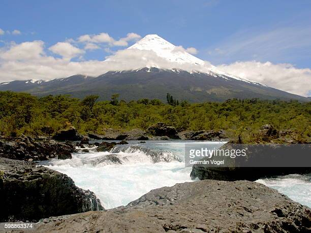 osorno volcano from forest river - petrohue river stock photos and pictures