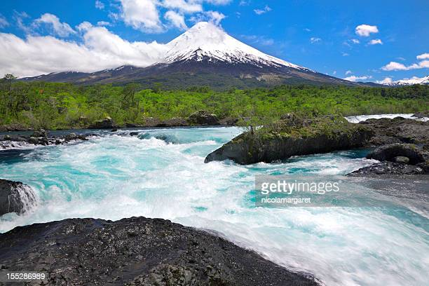 osorno volcano in chilean lake district - petrohue river stock photos and pictures