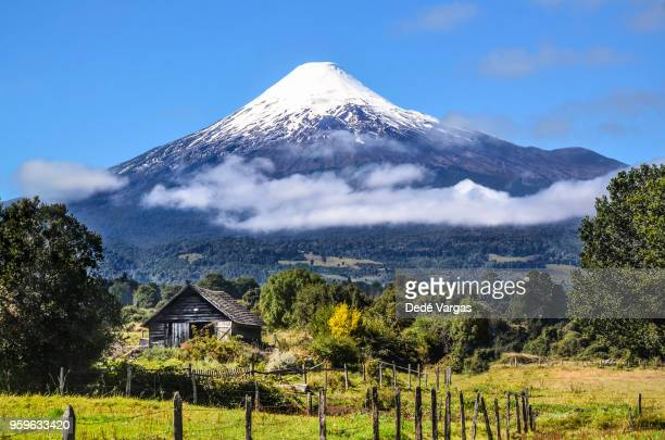 osorno volcano in chilean patagonia - patagonia chile stock photos and pictures