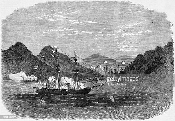 HMS Osprey and HMS Opossum attack and destroy Chinese pirate junks in Sama Bay near Hong Kong July 1866