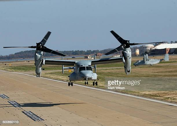 Osprey carrying US Secretary of Defense Ashton Carter takes off from langley Air Force Base enroute to the USS Eisenhower that is at sea off the...
