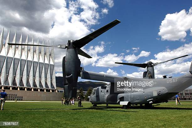 A CV-22 Osprey on display at the U.S. Air Force Academy.