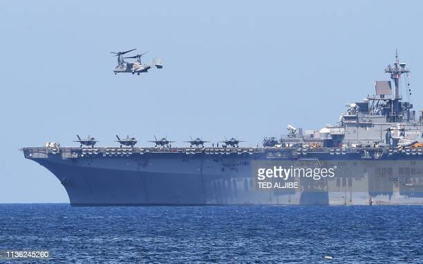 Osprey takes off from the USS Wasp US Navy multipurpose amphibious assault ship during the amphibious landing exercises as part of the annual joint...