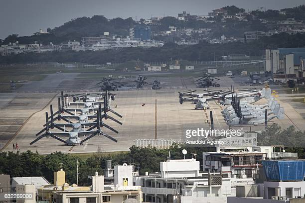 Ospreys are seen at the US Marine Corps Futenma Air Station from an observation deck at a park in Ginowan City Okinawa Prefecture Japan on January 21...