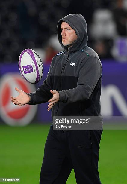 Ospreys coach Steve Tandy looks on before the European Rugby Challenge Cup match Ospreys and Newcastle Falcons at The Liberty Stadium on October 14...