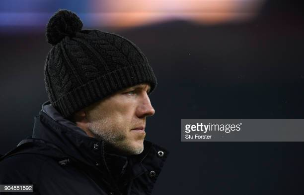 Ospreys coach Steve Tandy looks on before the European Rugby Champions Cup match between Bath Rugby and Scarlets at Recreation Ground on January 12...