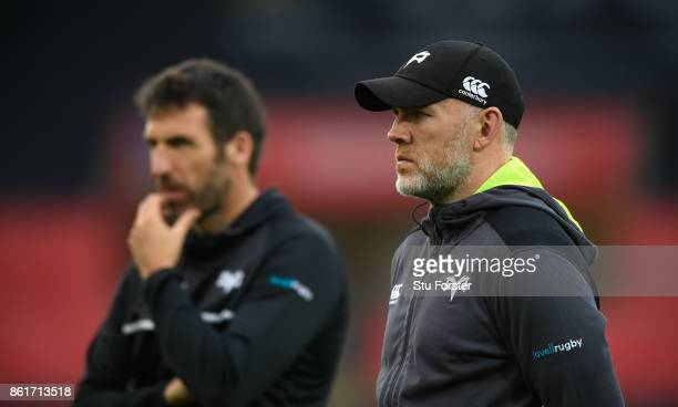 Ospreys coach Steve Tandy looks on during the European Rugby Champions Cup match between Ospreys and ASM Clermont Auvergne at Liberty Stadium on...