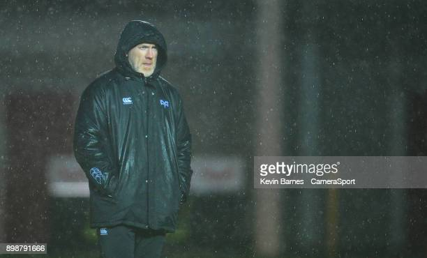 Ospreys' Head Coach Steve Tandy during the Guinness Pro14 Round 11 match between Scarlets and Ospreys at Parc y Scarlets on December 26 2017 in...