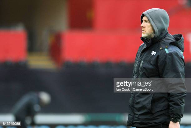 Ospreys' Head Coach Steve Tandy during the pre match warm up during the Guinness Pro12 Round 16 match between Ospreys and Glasgow Warriors at Liberty...
