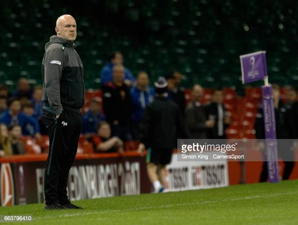 Ospreys' Head Coach Steve Tandy during the pre match warm up during the European Rugby Challenge Cup Quarter Final match between Ospreys and Stade...