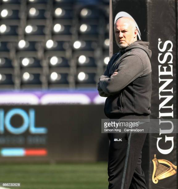 Ospreys' Head Coach Steve Tandy during the pre match warm up during the Guinness Pro12 Round 19 match between Ospreys and Leinster Rugby at Liberty...