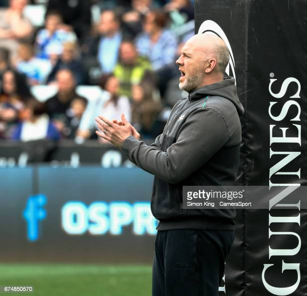 Ospreys' Head Coach Steve Tandy during the pre match warm up during the Guinness Pro12 Round 21 match between Ospreys and Ulster Rugby at Liberty...