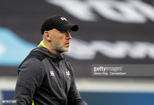 Ospreys' Head Coach Steve Tandy during the pre match warm up during the European Rugby Champions Cup match between Ospreys and ASM Clermont Auvergne...