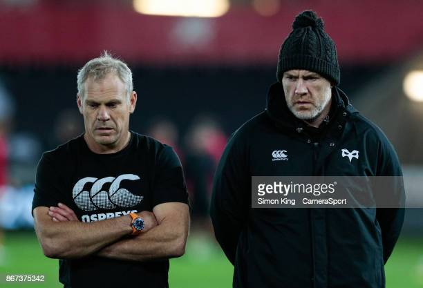 Ospreys' Head Coach Steve Tandy during the pre match warm up during the Guinness Pro14 Round 7 match between Ospreys and Dragons at Liberty Stadium...