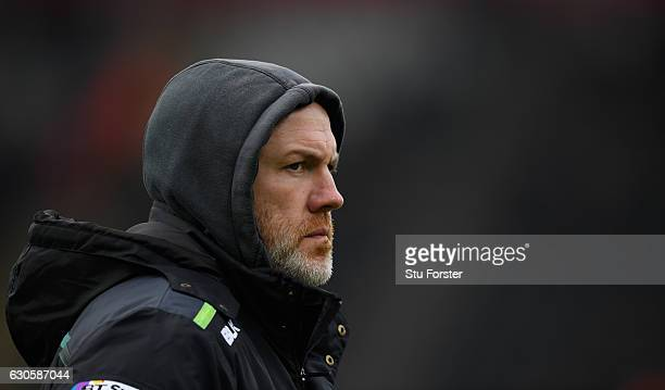 Ospreys head coach Steve Tandy looks on before the Guinness Pro 12 match between Ospreys and Scarlets at Liberty Stadium on December 27 2016 in...