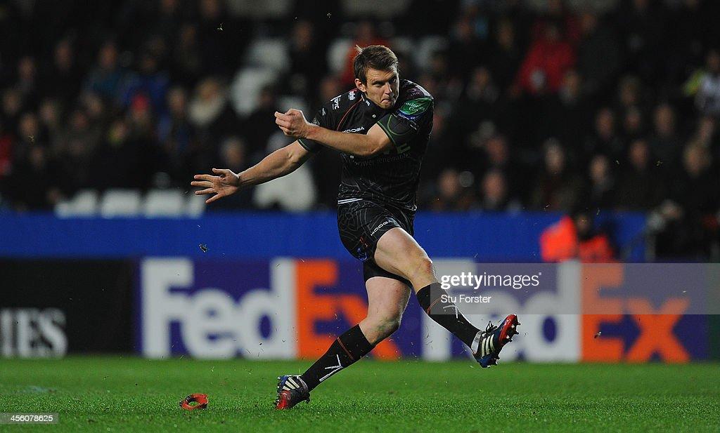 Ospreys kicker Dan Biggar lands a penalty during the Heineken Cup pool 1 round 4 match between Ospreys and Castres Olympique at Liberty Stadium on December 13, 2013 in Swansea, Wales.