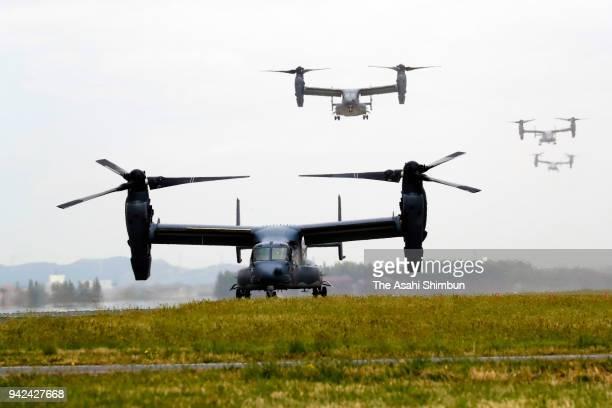 CV22 Ospreys land at the US Yokota Air Base on April 5 2018 in Fussa Tokyo Japan The transport aircraft will be deployed at Yokota Air Base more than...