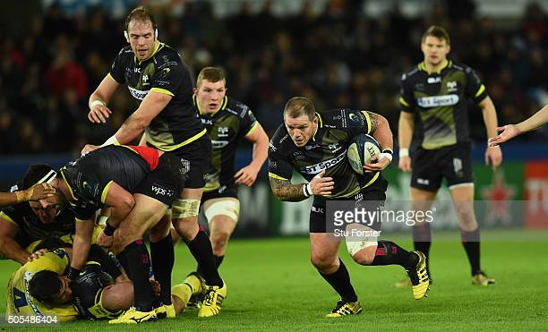 Ospreys player Paul James in action during the European Rugby Champions Cup Pool 2 match between Ospreys v ASM Clermont Auvergne at Liberty Stadium...