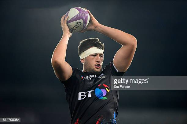 Ospreys player Rory Thornton in action during the European Rugby Challenge Cup match Ospreys and Newcastle Falcons at The Liberty Stadium on October...