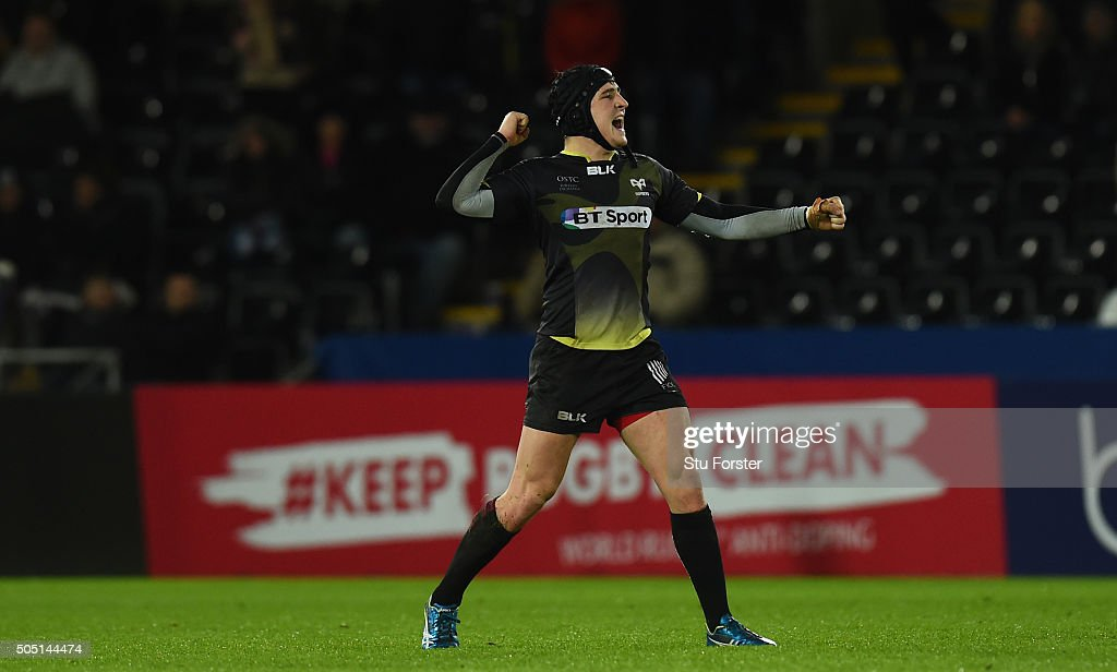 Ospreys player Sam Davies celebrates on the final whistle during the European Rugby Champions Cup Pool 2 match between Ospreys v ASM Clermont Auvergne at Liberty Stadium on January 15, 2016 in Swansea, Wales.
