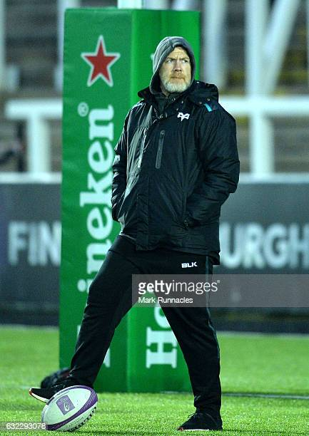Ospreys Rugby Head Coach Steve Tandy looks on during the European Rugby Challenge Cup pool 2 match between Newcastle Falcons and Ospreys Rugby at...