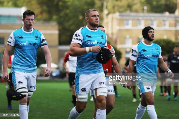 Ospreys team walk out onto the pitch prior to the match between Saracens and Ospreys at Honourable Artillery Company on August 23 2018 in London...