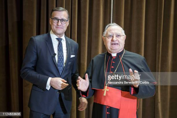 Osram CEO Olaf Berlien and Cardinal Giuseppe Bertello President of the Governorate of Vatican City State attend the presentation of the new...