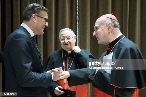 Osram CEO Olaf Berlien Cardinal Giuseppe Bertello President of the Governorate of Vatican City State and Cardinal Angelo Comastri Archpriest of St...